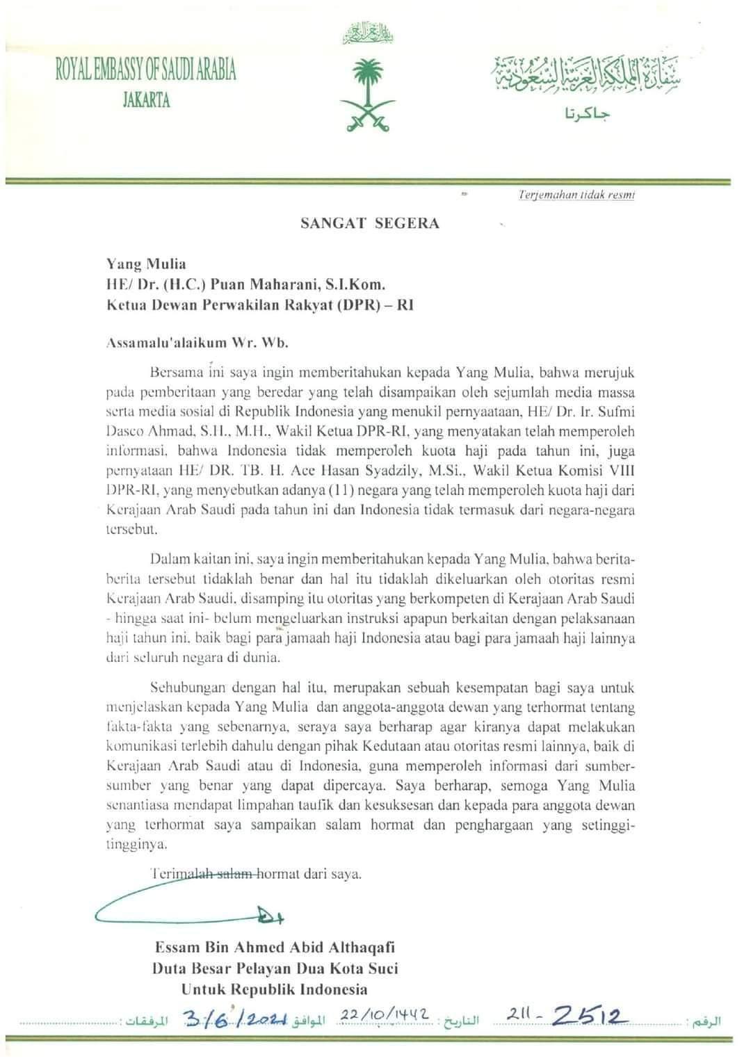 Surat Klarifikasi Dubes Arab Saudi